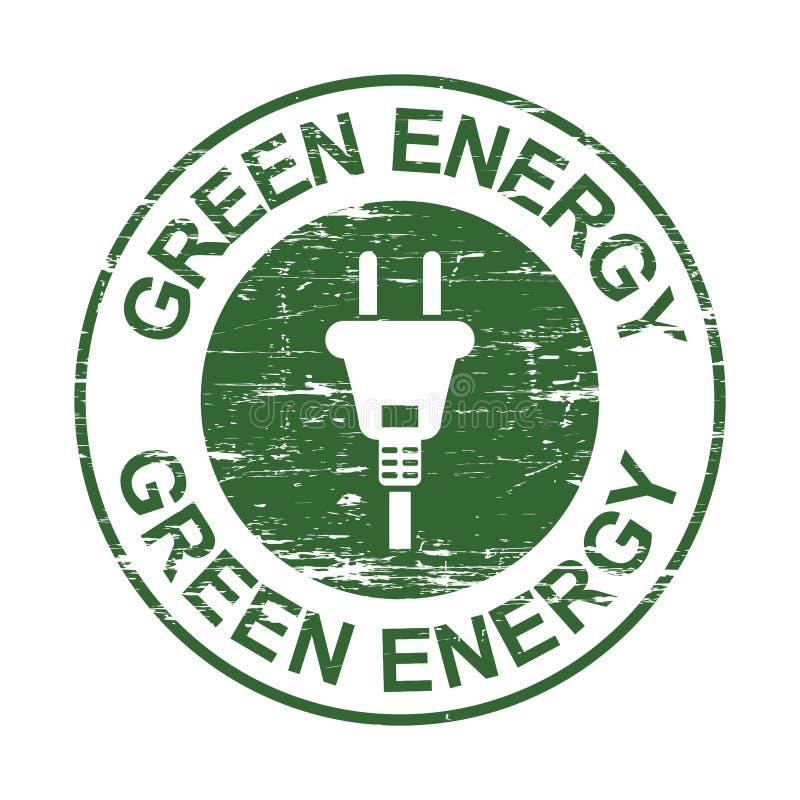 Zielony energetyczny grunge znaczek z prymka znakiem, eco ?yczliwy projekt, zasila energooszcz?dnego symbol, odizolowywaj?cego na ilustracji
