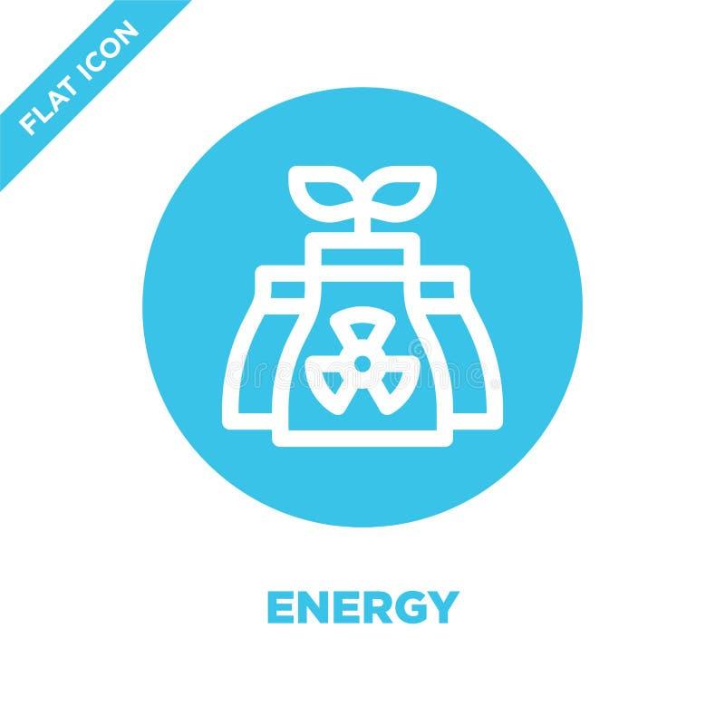 zielony energetyczny ikona wektor Cienkiej linii zieleni konturu ikony wektoru energetyczna ilustracja zielony energetyczny symbo ilustracji