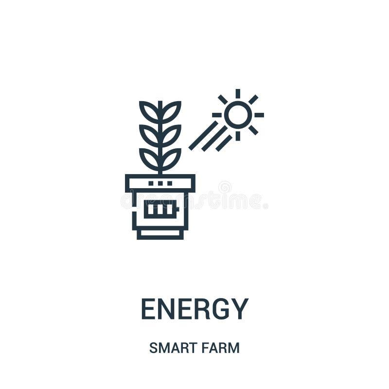 zielony energetyczny ikona wektor od mądrze rolnej kolekcji Cienkiej linii zieleni konturu ikony wektoru energetyczna ilustracja royalty ilustracja