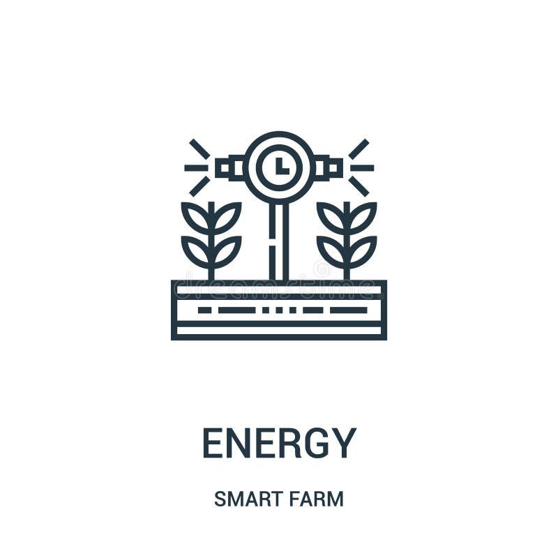 zielony energetyczny ikona wektor od m?drze rolnej kolekcji Cienkiej linii zieleni konturu ikony wektoru energetyczna ilustracja ilustracji