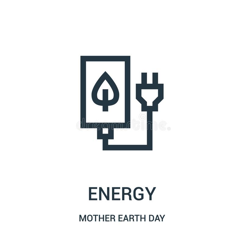 zielony energetyczny ikona wektor od macierzystej ziemskiego dnia kolekcji Cienkiej linii zieleni konturu ikony wektoru energetyc ilustracji
