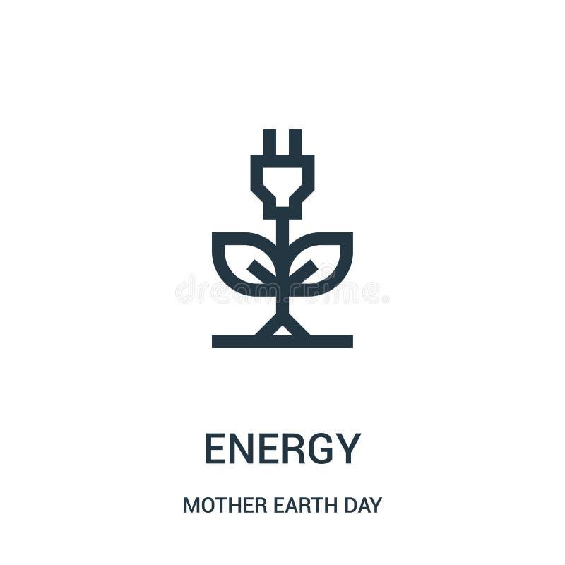 zielony energetyczny ikona wektor od macierzystej ziemskiego dnia kolekcji Cienkiej linii zieleni konturu ikony wektoru energetyc ilustracja wektor