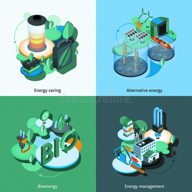 Zielony Energetyczny Isometric ilustracji