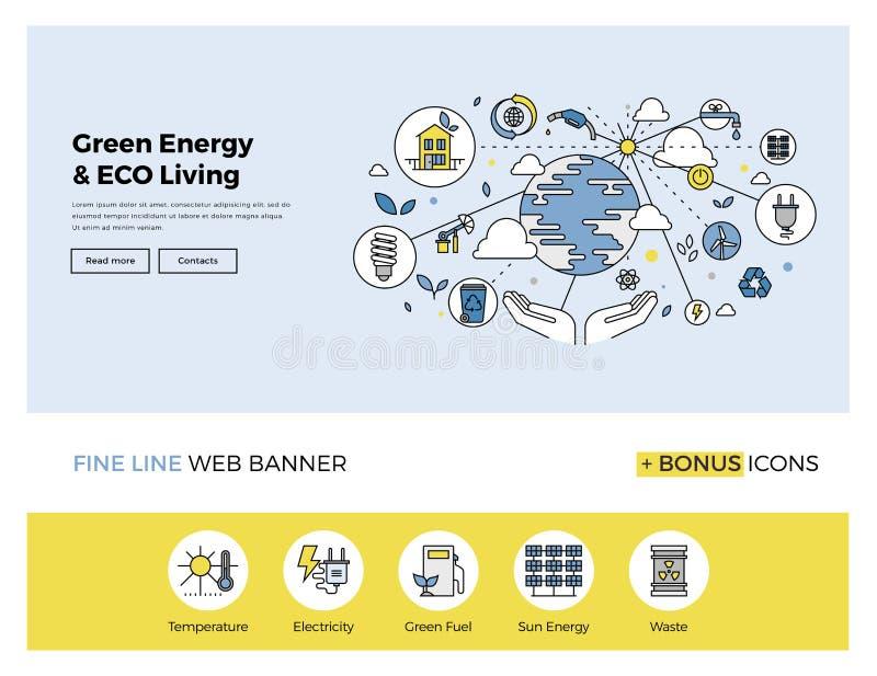 Zielony energetyczny mieszkanie linii sztandar ilustracji