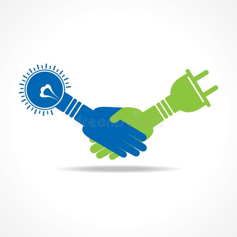 Zielony energetyczny pojęcie uścisk dłoni żarówka i prymka ilustracja wektor