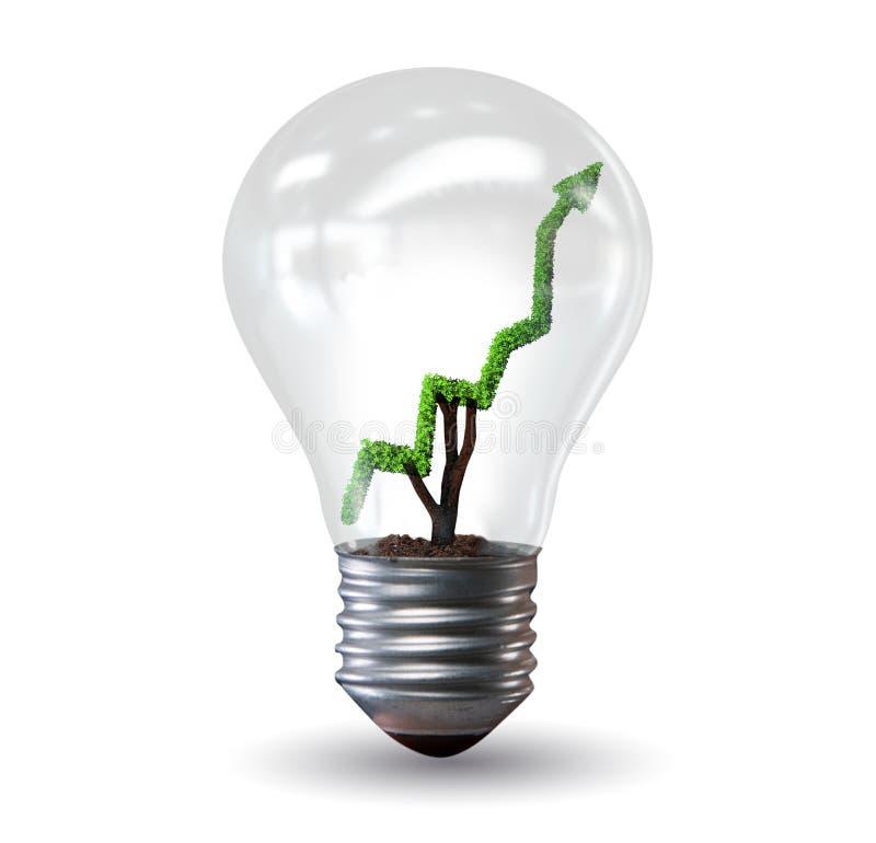 Zielony energetyczny pojęcie z zielona lina wykresem w żarówce ilustracja wektor