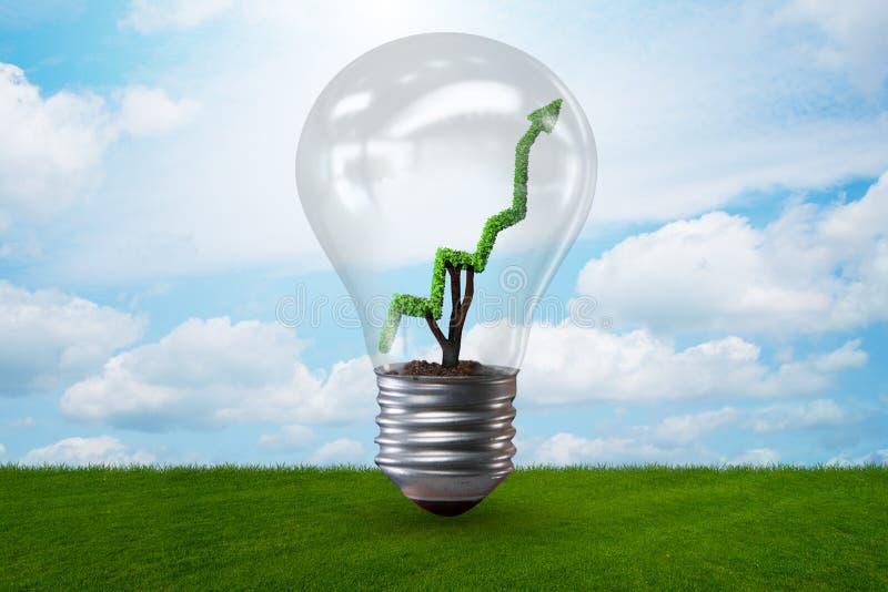 Zielony energetyczny pojęcie z zielona lina wykresem w żarówce ilustracji
