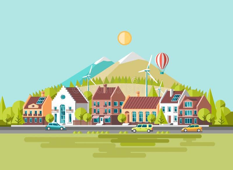 Zielony energii i eco życzliwy nowożytny miasto Tradycyjny architektura krajobraz słoneczny władza wiatr ilustracji