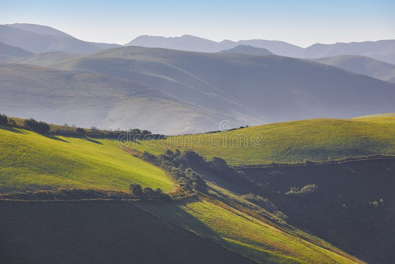 Zielony falisty łąka krajobraz przy świtem w Asturias Hiszpania zdjęcie stock