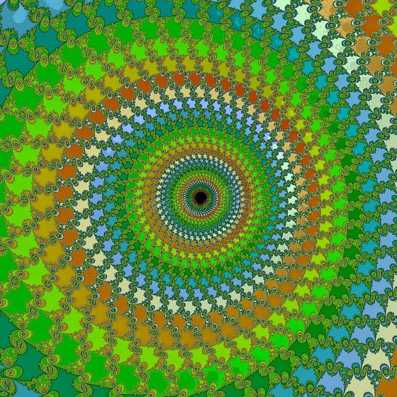 Zielony fractal zawijas i kwiat, cyfrowa grafika dla kreatywnie graficznego projekta royalty ilustracja