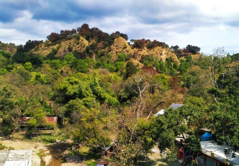 Zielony górkowaty teren z piękną pogodą fotografia stock
