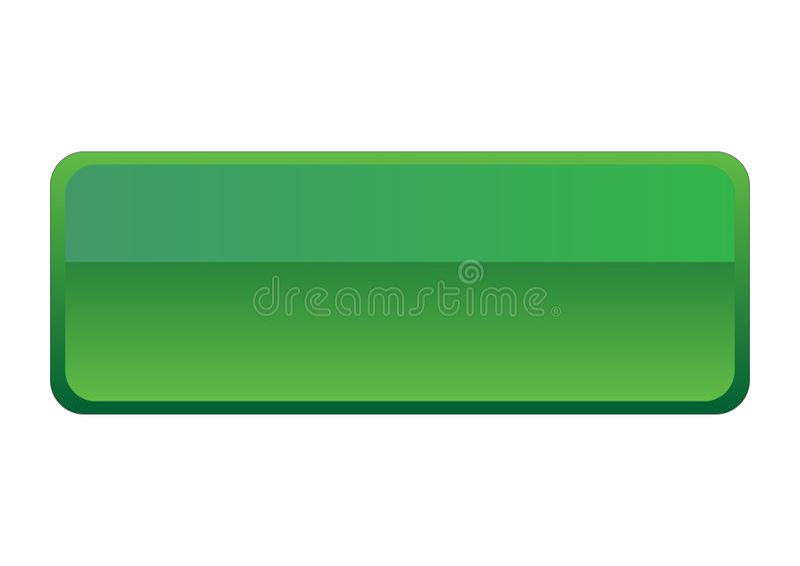 Zielony Glansowany Prosty prostokąta guzik obrazy stock