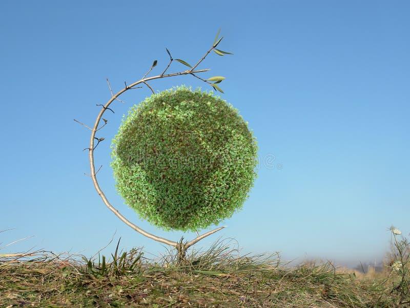 zielony globu drzewo obraz stock