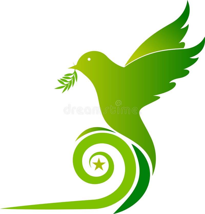 Zielony gołębi logo ilustracja wektor