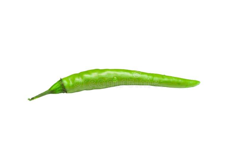 Zielony gorącego chili pieprz odizolowywający na białym tle, standardu jedzenia pojęcie zdjęcie royalty free