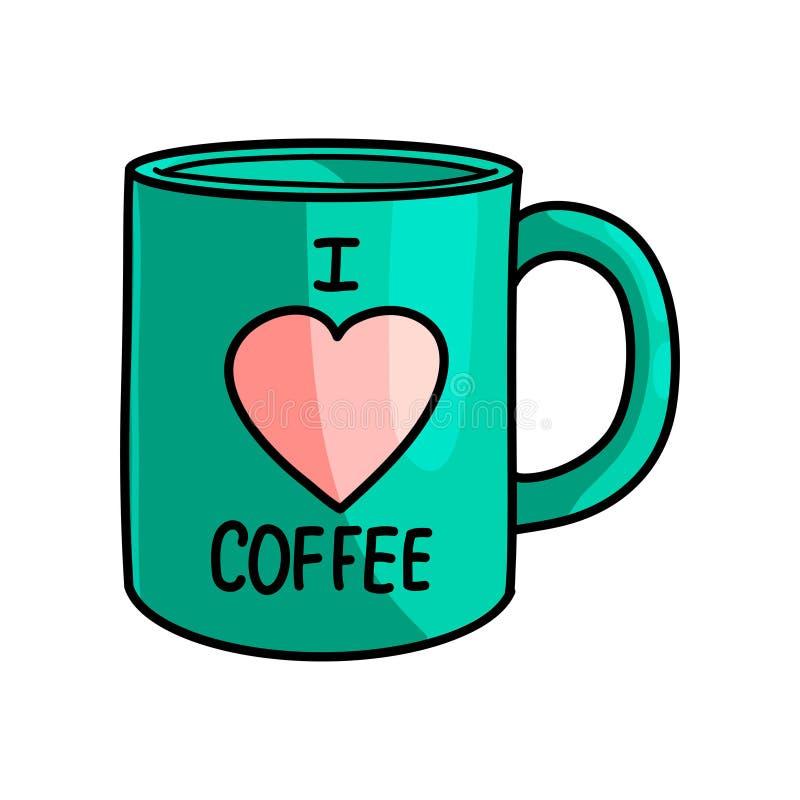 Zielony gorący kawowy kubek z czerwonym kierowym drukiem ilustracja wektor