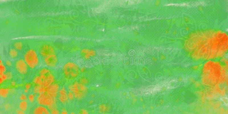Zielony grunge akwareli tło z plamami ilustracji