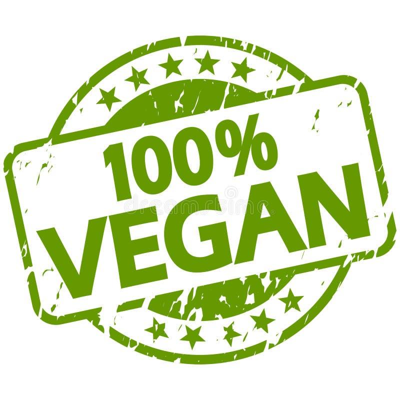 zielony grunge znaczek z sztandaru 100% weganinem ilustracja wektor