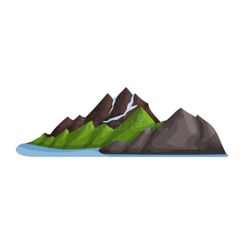 Zielony halny śniegu lodu wierzchołek, plenerowy projekta element, natura krajobrazu, górzysta wektor ilustracja geologia royalty ilustracja