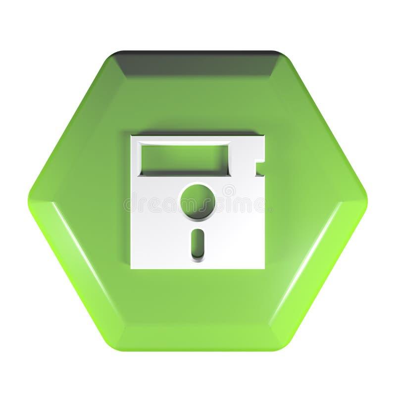 Zielony heksagonalny pchnięcie guzik z opadającego dyska ikoną - 3D renderingu ilustracja ilustracja wektor