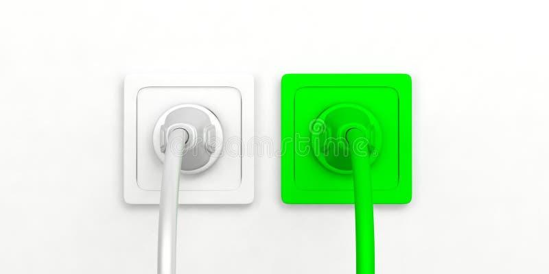 _zielony i biały zasilanie elektryczne prymka i nasadka odizolowywać na biały tło ilustracja 3 d ilustracji
