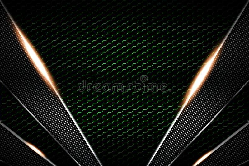 Zielony i czarni węgla włókno i chromium rama Metalu t?o ilustracja wektor