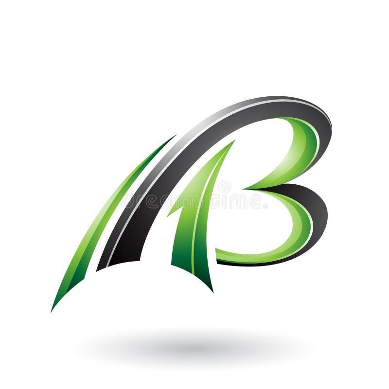 Zielony i Czarny Latający Dynamiczny 3d Pisze list A i b odizolowywających na Białym tle ilustracji