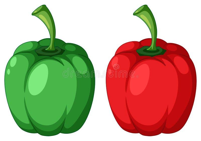 Zielony i Czerwony Capsicum royalty ilustracja