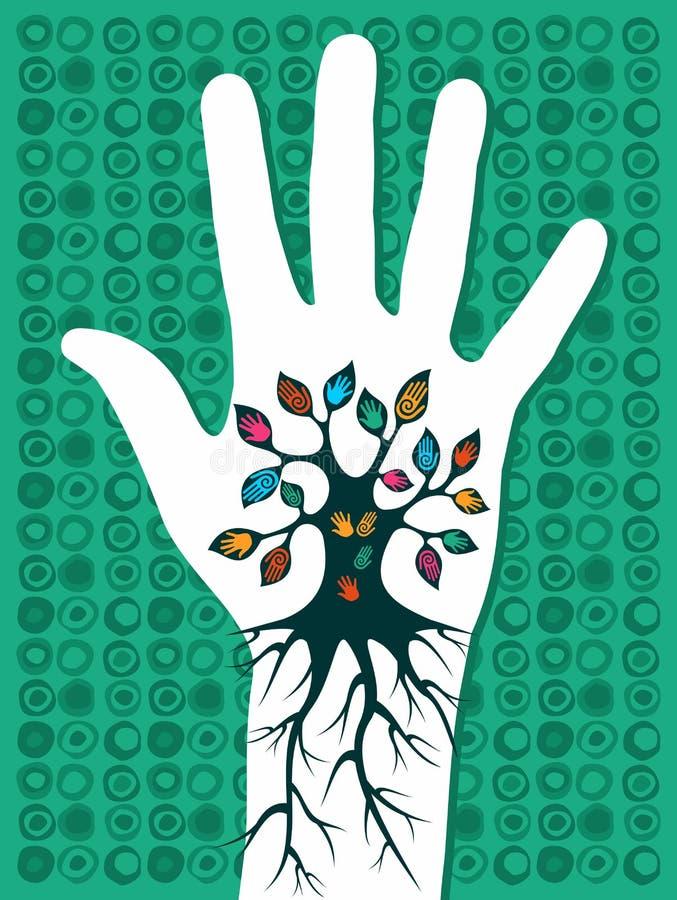 zielony idzie ręki drzewo royalty ilustracja