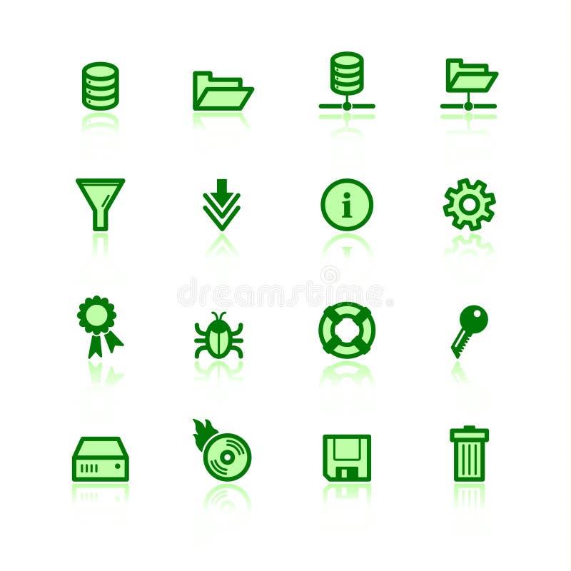zielony ikon serwer plików ilustracji