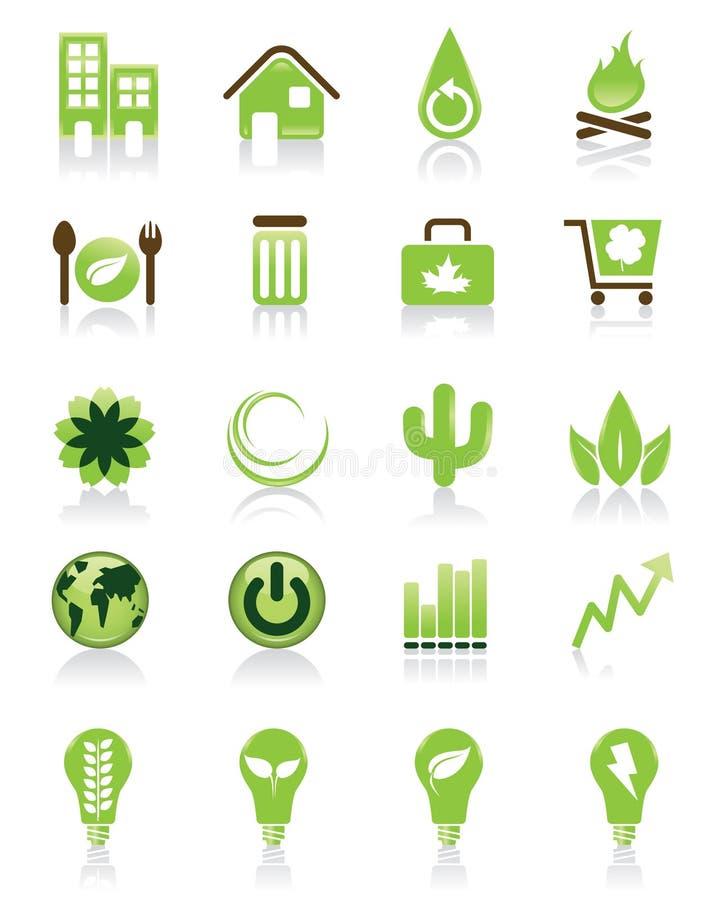 zielony ikona set ilustracji