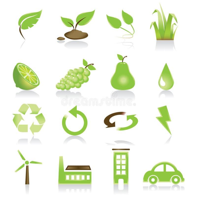 zielony ikona zestaw royalty ilustracja
