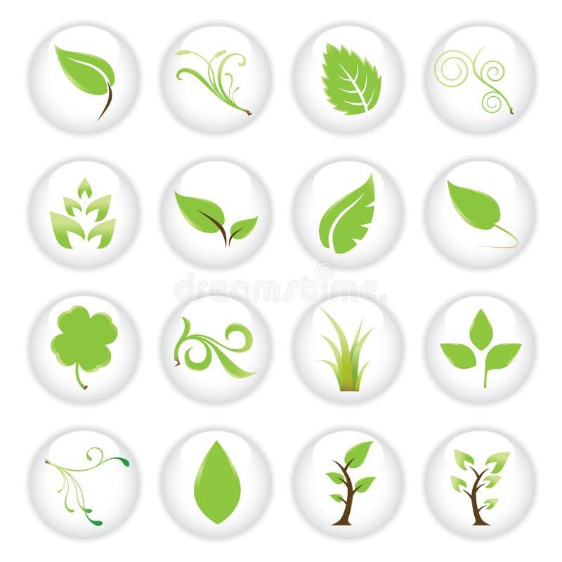 zielony ikona zestaw ilustracja wektor