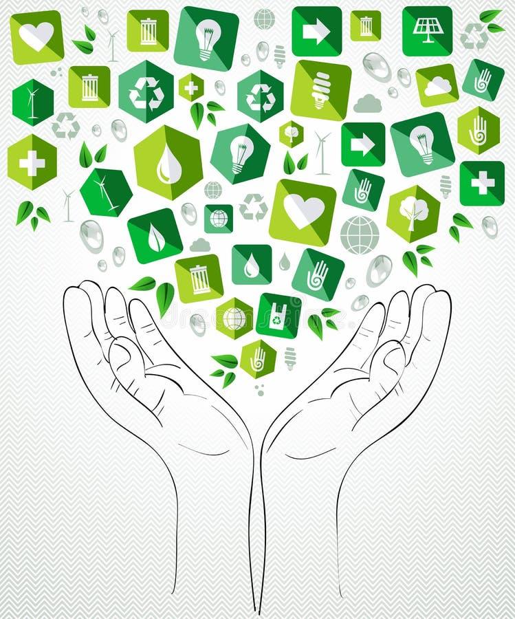 Zielony ikony mieszkania ręk projekt royalty ilustracja