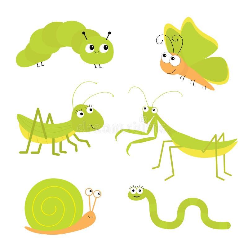 Zielony insekt ikony set Modliszki modlenie, pasikonik, motyl, gąsienica, ślimaczek, dżdżownica ?licznego kresk?wki kawaii ?miesz royalty ilustracja