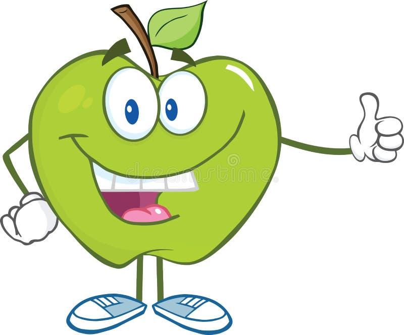 Zielony Jabłczany postać z kreskówki Trzyma kciuk Up ilustracja wektor
