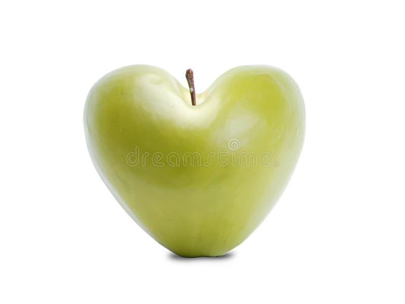 Zielony jabłczany serce zdjęcia stock