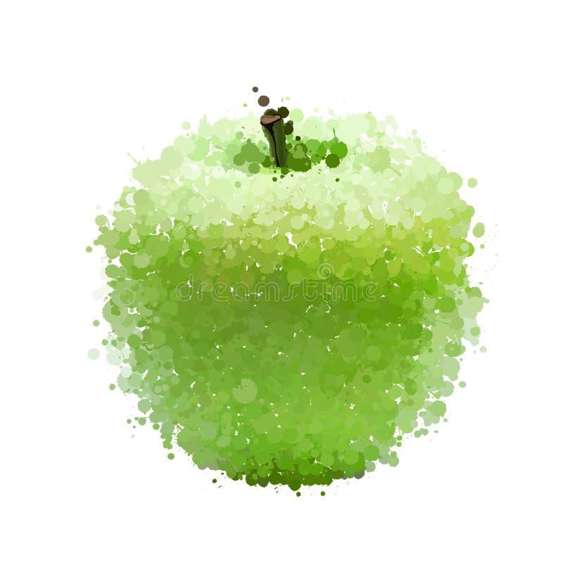 Zielony jabłko kleksy  ilustracja wektor
