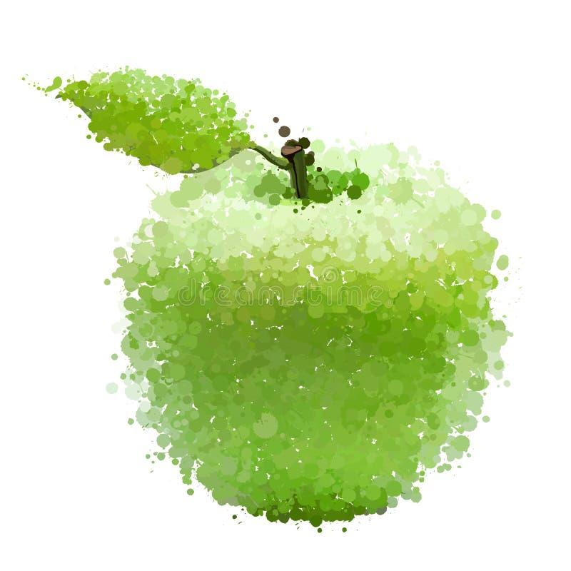 Zielony jabłko z liściem kleksy  ilustracja wektor