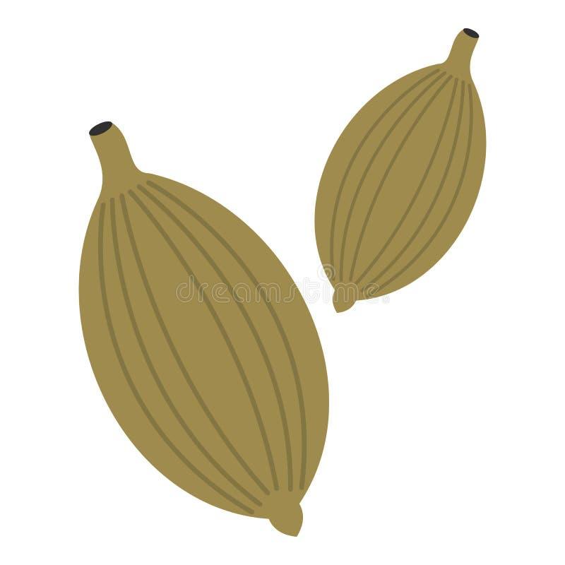 Zielony kardamon połuszczy ikonę odizolowywającą royalty ilustracja