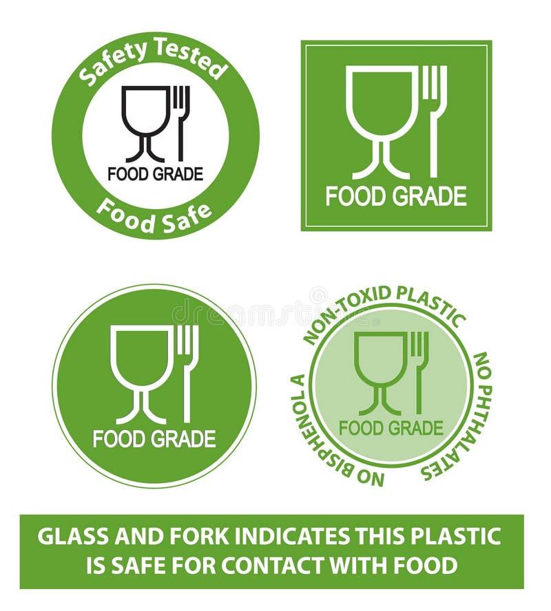 Zielony Karmowego stopnia Plastikowy symbol, odizolowywający ilustracji