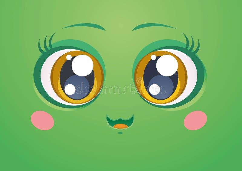 Zielony Kawaii uśmiech zdjęcie royalty free