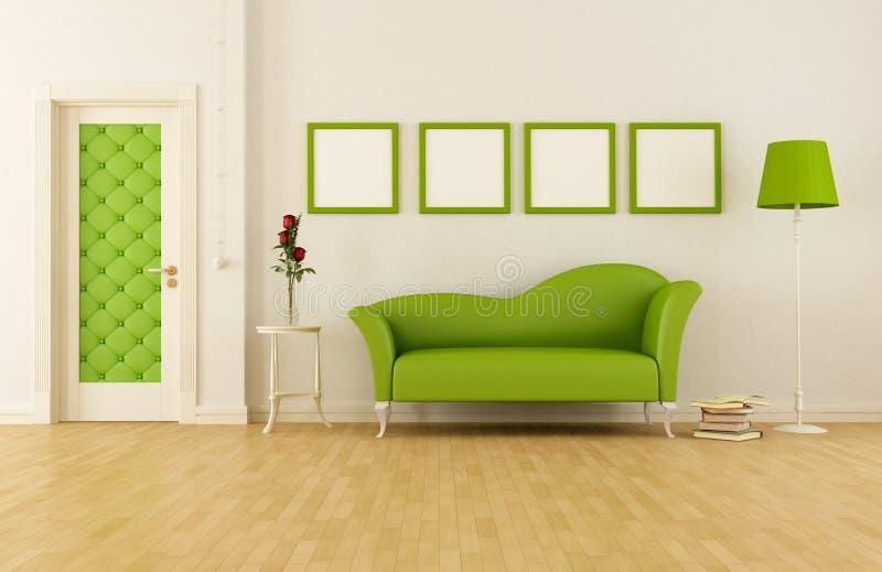 Zielony klasyczny pokój dzienny royalty ilustracja