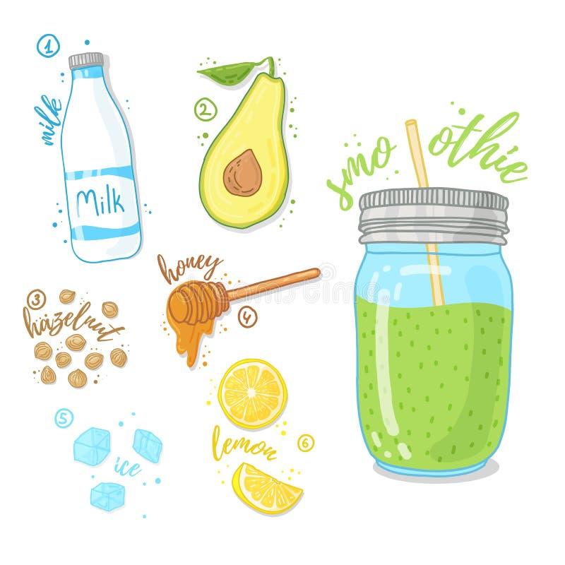 Zielony koktajl dla zdrowego życia Smoothies z avocado, krowy mlekiem, miodem i hazelnut, Przepisu owocowy smoothie w szkle ilustracja wektor