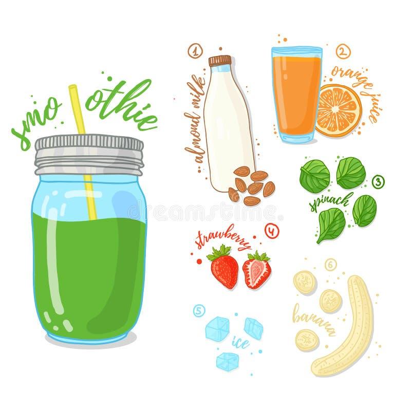 Zielony koktajl owoc i warzywo Smoothies z szpinakiem, migdału mlekiem i bananem, Przepisu jarosza smoothies ilustracja wektor