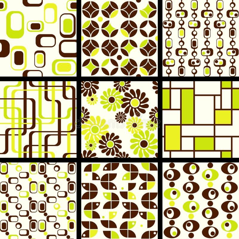 zielony kolekci mod deseniuje bezszwowego royalty ilustracja