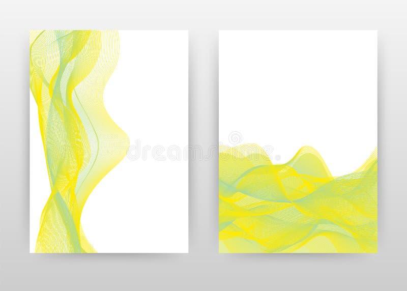 Zielony kolor żółty machający linia projekt dla sprawozdania rocznego, broszurka, ulotka, plakat Zieleń machająca wykłada tło wek ilustracja wektor