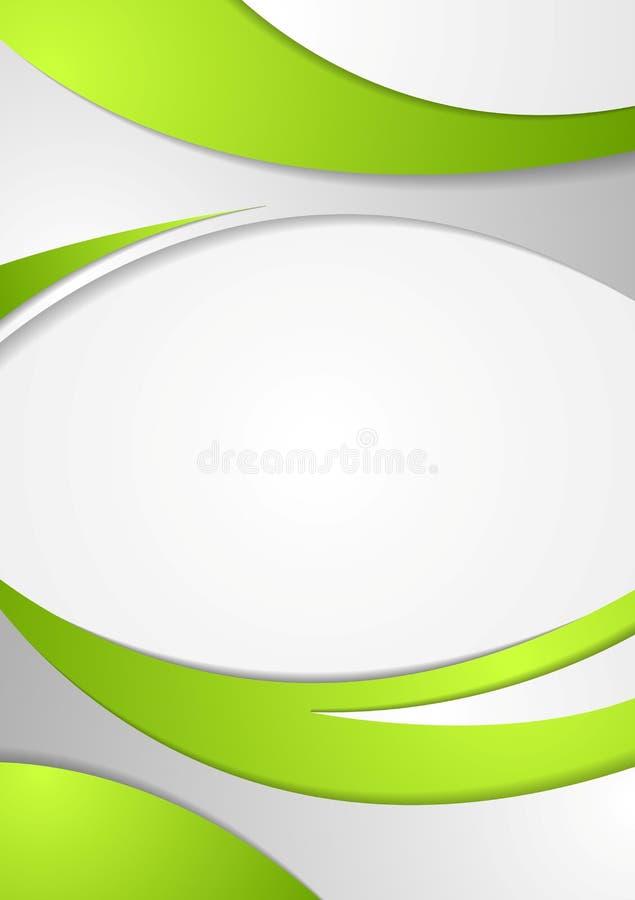 Zielony korporacyjny falisty ulotki tło ilustracja wektor
