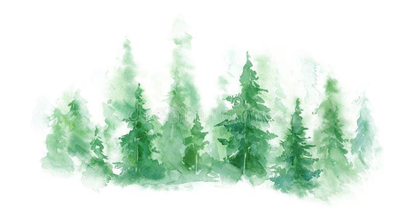 Zielony krajobraz mgłowy las, zimy wzgórze Dzika natura mglista, marznący, tajga starożytny ciemności tła papieru akwareli żółty royalty ilustracja
