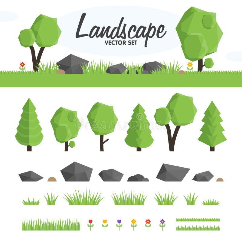 Zielony krajobrazu set royalty ilustracja